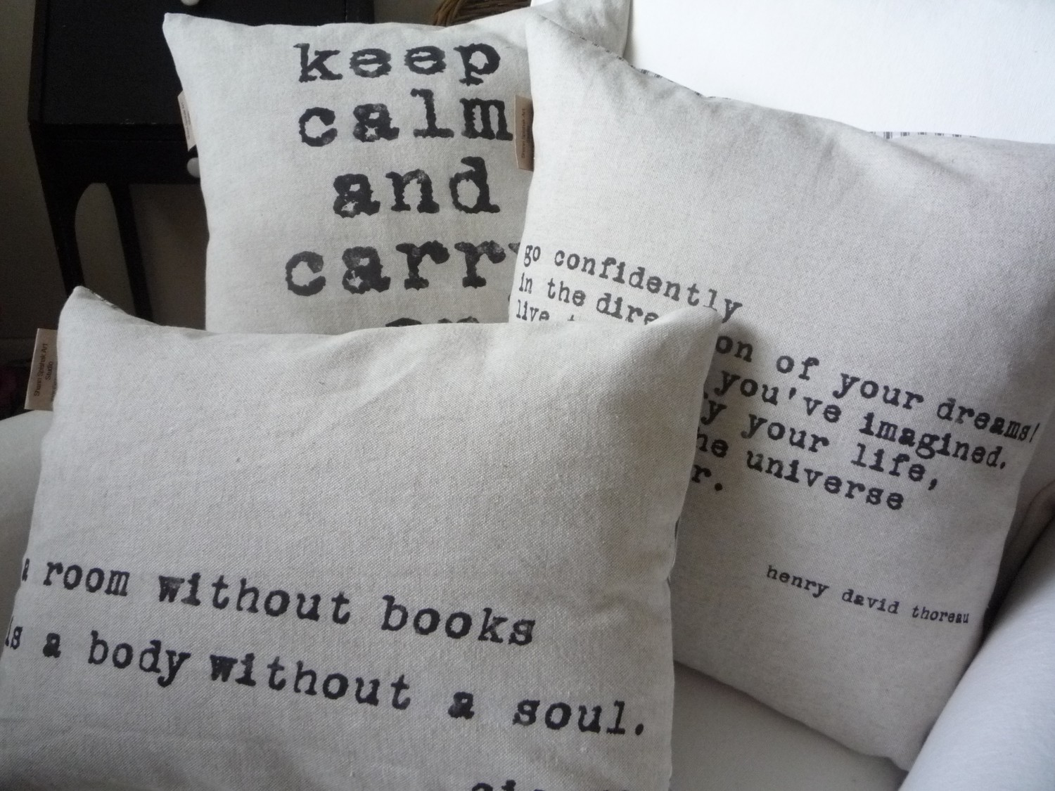 Bungalow 1a: How to Decorate with Decal Stickers - Words And Quotes Pillow Designs