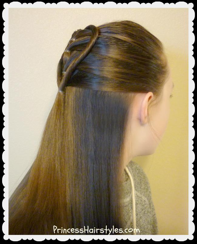 Elastic Braid Twist Heart Hairstyle Tutorial For Valentines - Hairstyle for valentine's dance