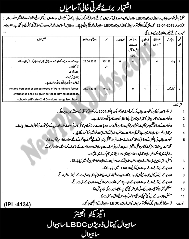 Beldar, Canal Guard Jobs in Irrigation Department Govt Of The Punjab