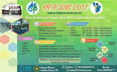 Olimpiade Pendidikan Akuntansi (OPA) 2017 Se-Jawa Tengah | Univ. Sebelas Maret | SMA Sederajat