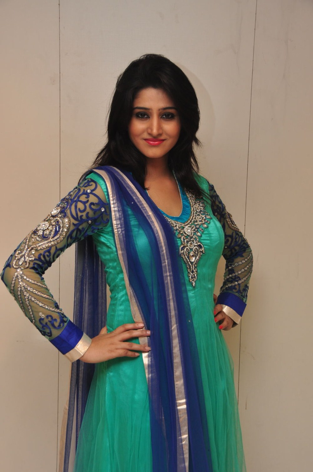Gorgeous host shamili in ethnic salwar suit at store opening