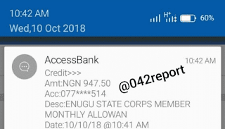Corps Member Receives N947.50 As Monthly Allowance In Enugu – See Photo