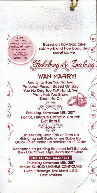 Lol check out this funny wedding invitation card written in pidgin see a copy of the invitation card below stopboris Image collections