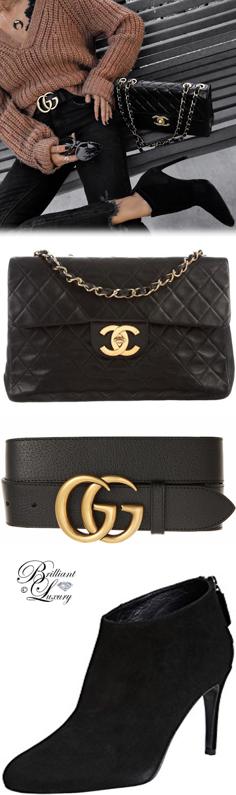 Brilliant Luxury ♦ Chanel vintage Flap bag and Gucci Marmont Logo bag and L.K.Bennet Emily booties #black #streetstyle