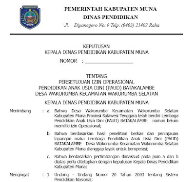 Contoh Berkas Surat Permohonan Izin Operasional Sekolah PAUD Lengkap Siap Cetak