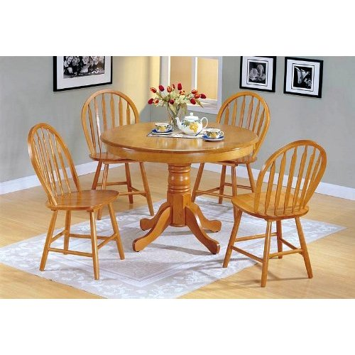 Dining Tables Country Style: 5pc Country Style Oak Finish Wood Round Dining Table +4