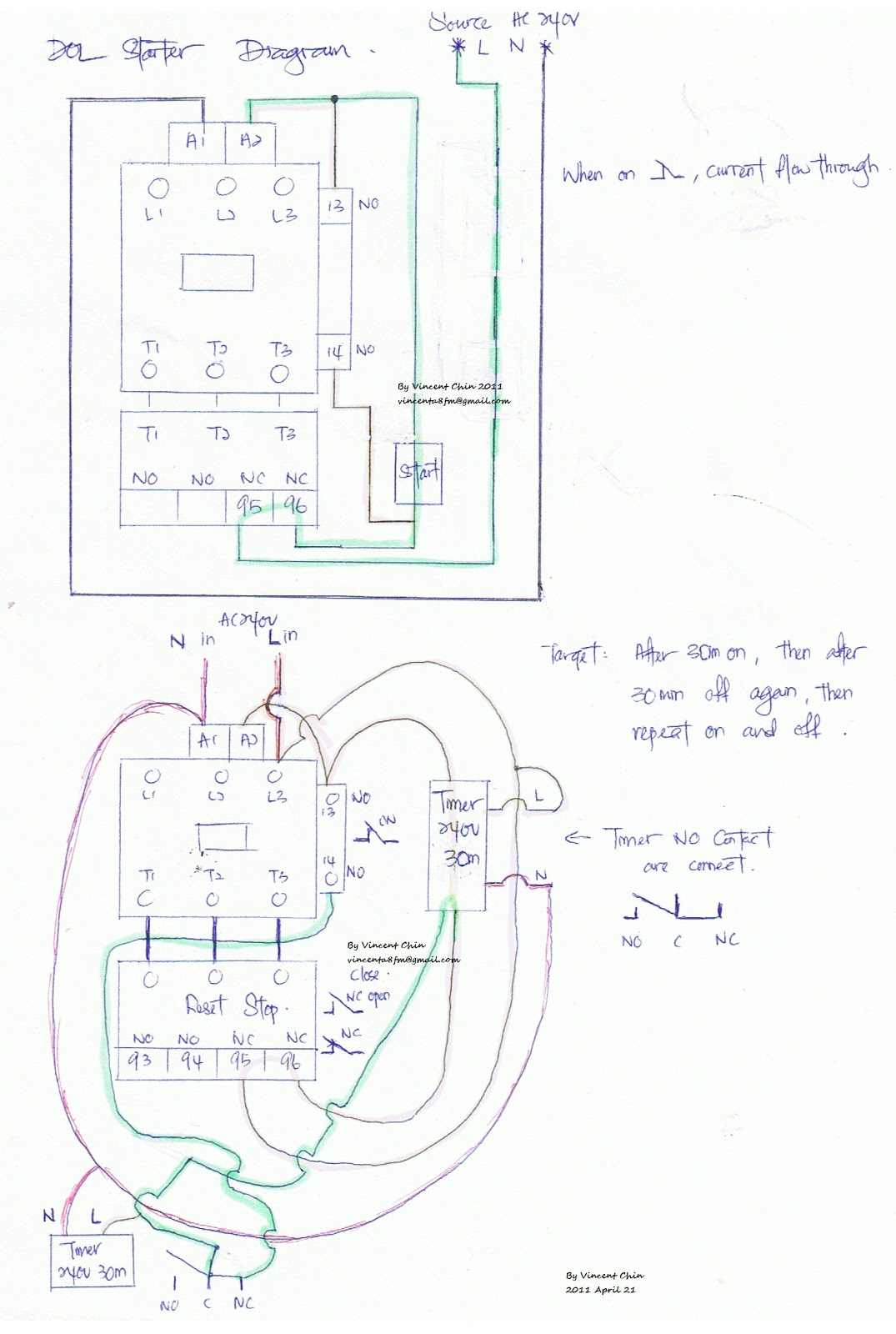 Control Wiring Diagram Of Dol Starter 480v 3 Phase Motor Diagrams