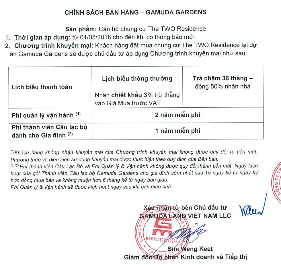 Chính sách Chung Cư The Two Gamuda Gardens