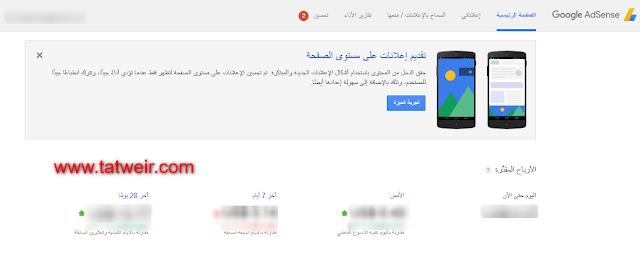 Google AdSense تقديم اعلانات على مستوي الصفحه
