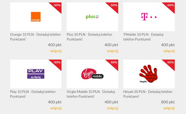 doładowania telefonu w MasterCard Priceless Specials - połowa ceny