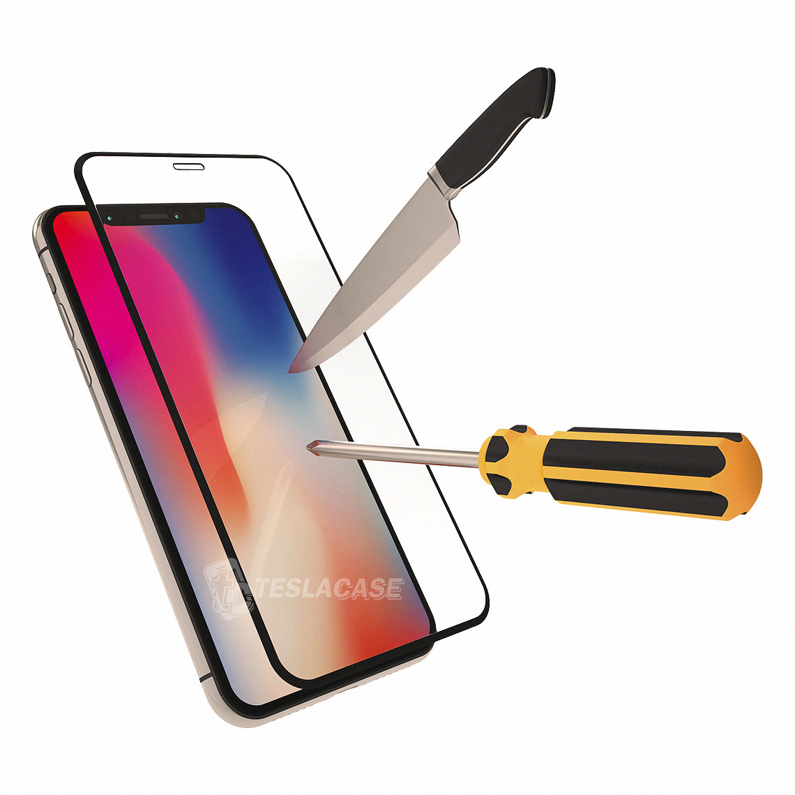 d2b36a28618 iPhone X Lamina De Vidrio Templado 5D Full Cover Curvo Glass Tempered