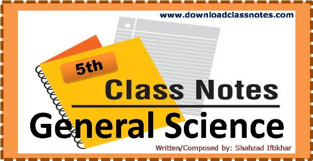 General Science Notes for 5th Class / V for all Islamabad Model Schools & Colleges