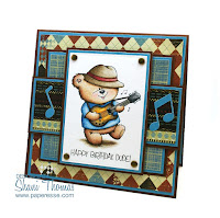 A guitarist masculine birthday card idea featuring Di's Gibson Bear digistamp. Design by Paperesse.