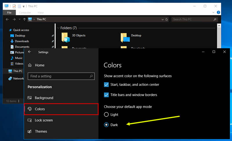 Dark theme support for File Explorer in Windows 10 October 2018 Update