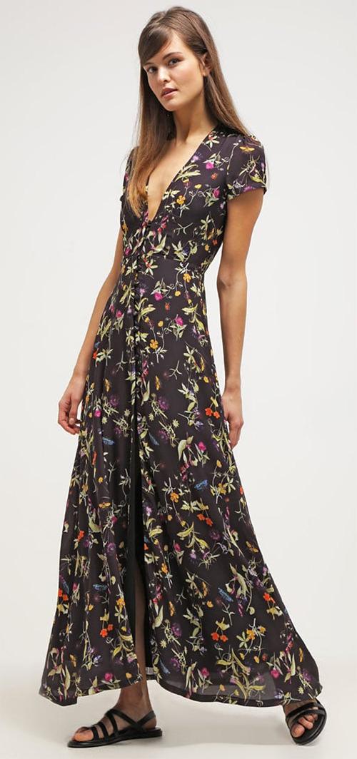 175a9f97f0a5 Robe longue d été noire à fleurs manches courtes Oh My Love