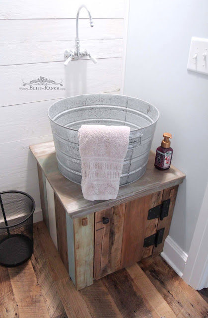 Galvanized tub sink with wood scrap cabinet, Bliss-Ranch.com