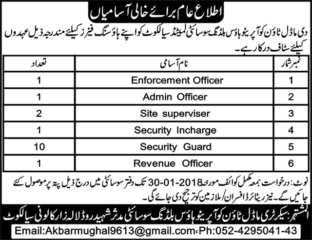 Staff Required in The Model Town Cooperative Housing Society Sialkot ,Apply via Email