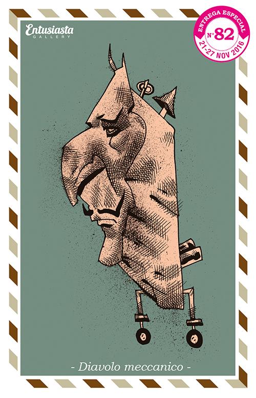 Diabujo a tinta de un personaje mecánico con rostro de diáblo