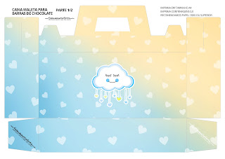 Rain of Blessings for Boy: Free Printable Suitcase Favor Box.