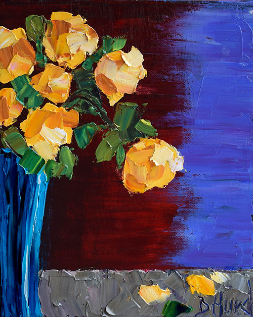 Yellow Roses Painting Floral Art Flowers Paintings Still Life by Debra Hurd