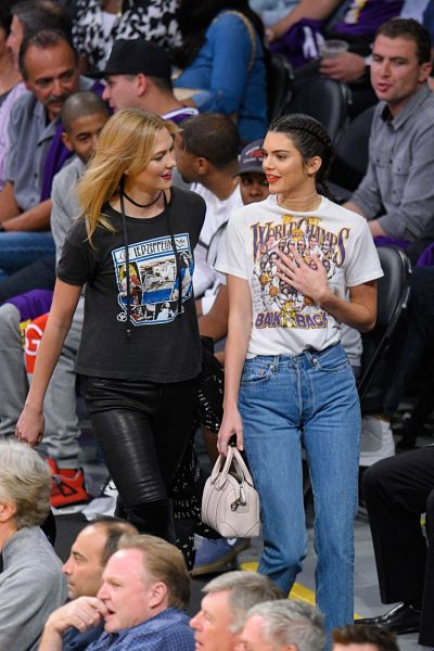 Kendall Jenner and Karlie Kloss at Houston Rockets vs Los Angeles Lakers