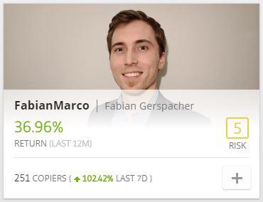 eToro recomienda FabianMarco que ganó 36.96% en los últimos 12 meses