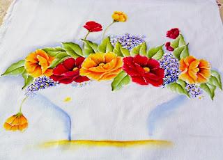 pintura de papoulas vermelhas e amarelas
