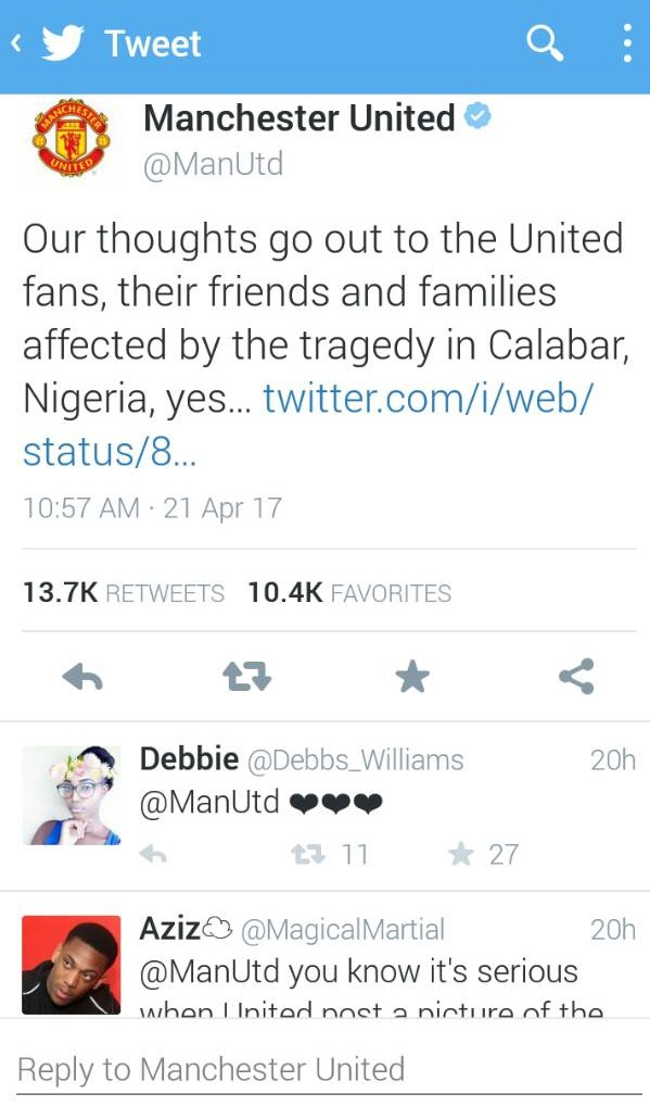 BREAKING: Manchester United react to death of over 30 football fans in Calabar