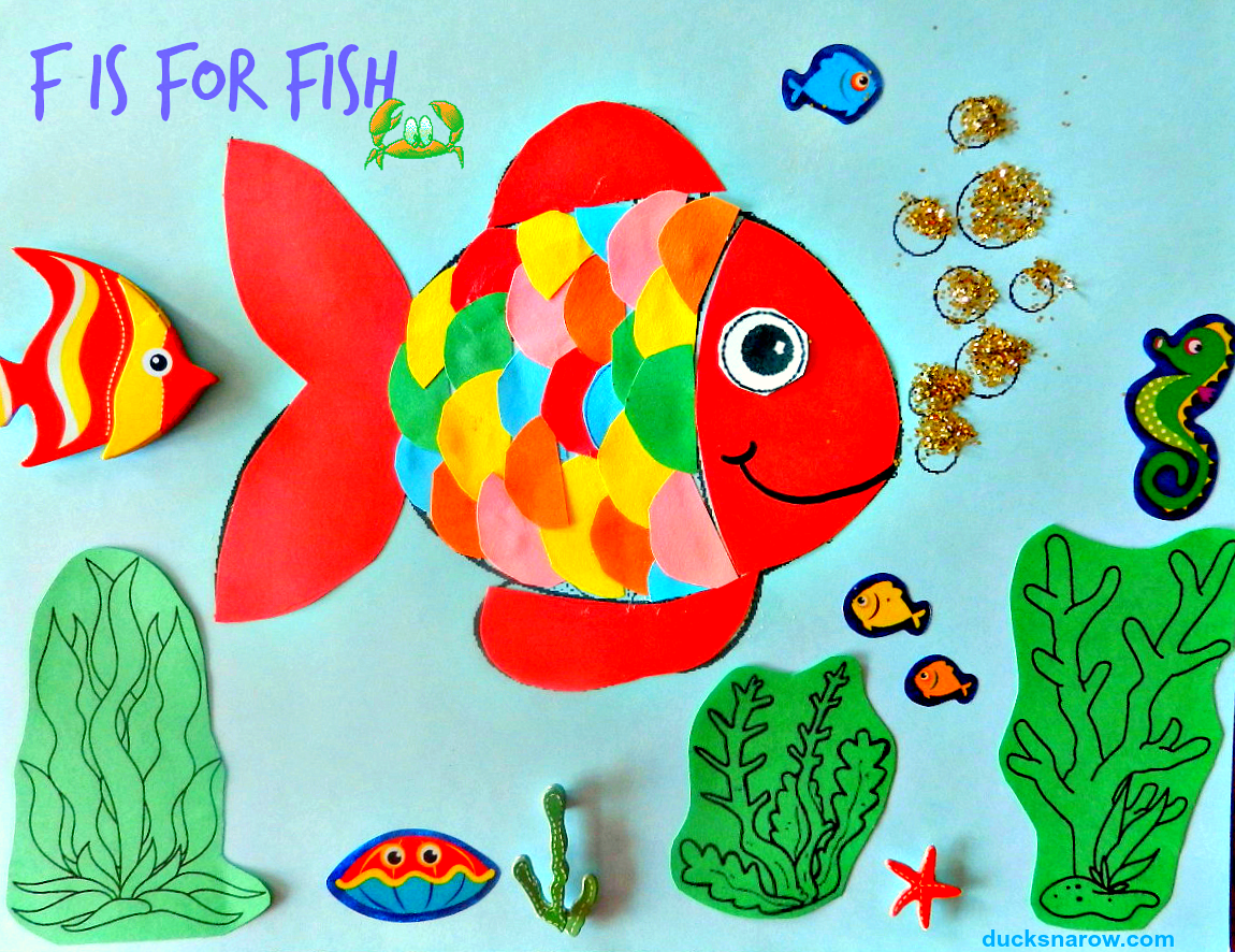 F is for fish preschool craft ducks 39 n a row for Fish crafts for preschoolers