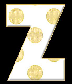 Abecedario Blanco con Lunares Dorados. White Alphabet with Gold Polka Dots.
