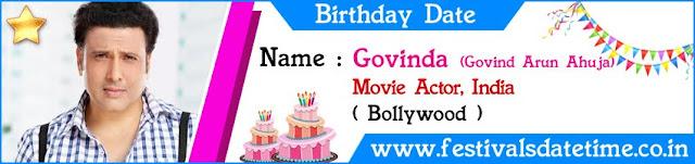 Govinda Birthday Date