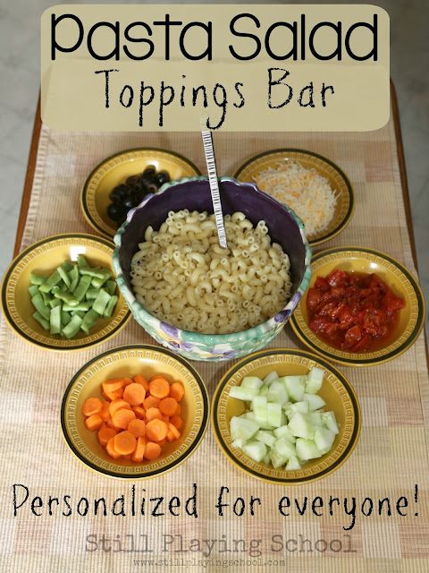 Each guest can personalize their own dinner with this pasta salad bar! Yum!