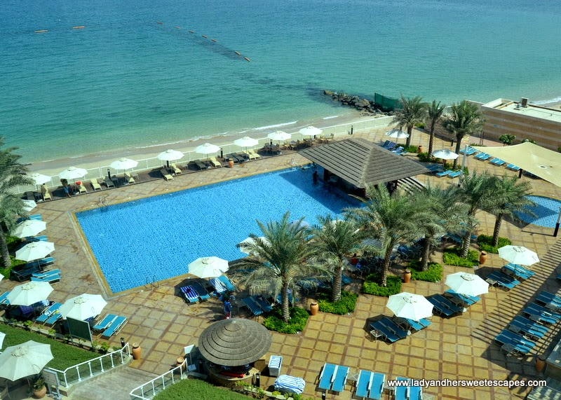 Oceanic Hotel's private beach and swimming pool