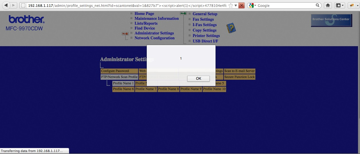 XSS Cx Blog: XSS, Javascript Injection, Brother MFC-9970CDW Printer
