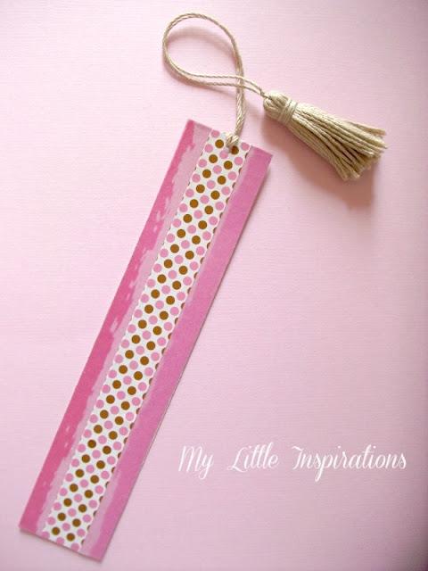 3 segnalibri DIY con nappine e materiali di riciclo - Washi Tape rosa e beige a pois - MLI