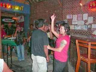 People happy in bamboo cafe pangandaran