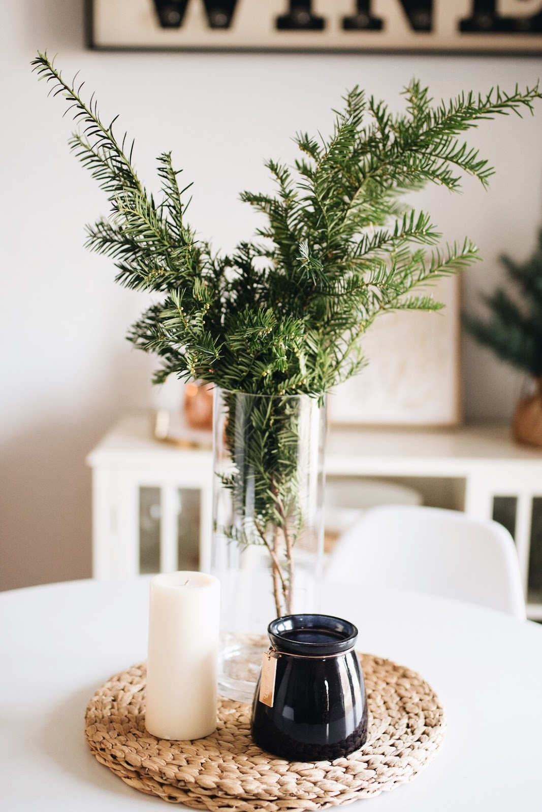 fresh greenery centerpiece for the holidays