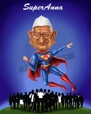 Anna Hazare Superman Cartoon