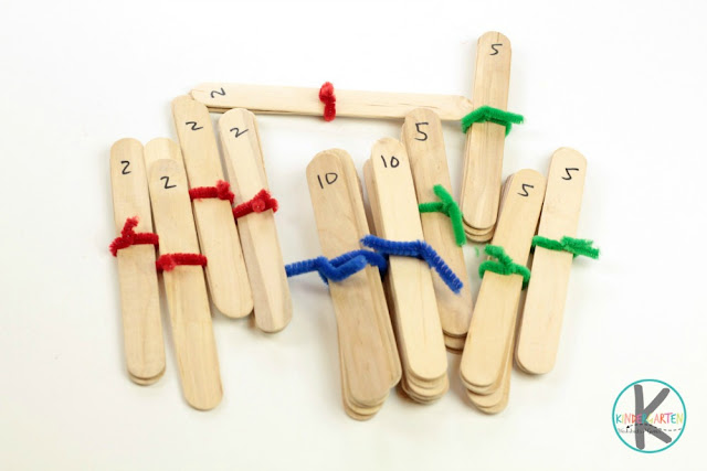 group craft stick by 2s, 5s, or 10s to help kids visualize skip counting