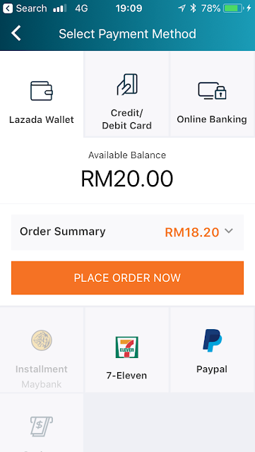 Lazada Wallet as the first payment option