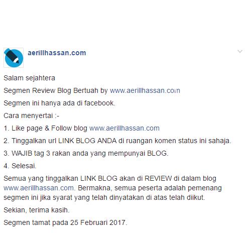 Nak Blog Di Review Secara Percuma? Lihat entri ini ..