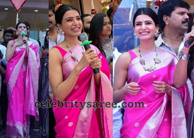 Samantha Fuschia Pink Silk Saree