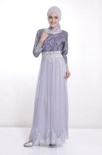 Dress muslim brokat modern untuk pesta
