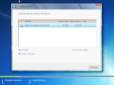 particion windows 7