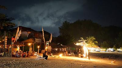 Watching a fireshow at Pattaya Beach