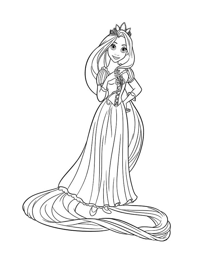 rapunzel coloring pages - 6 animated cartoon disney tangled rapunzel coloring sheet