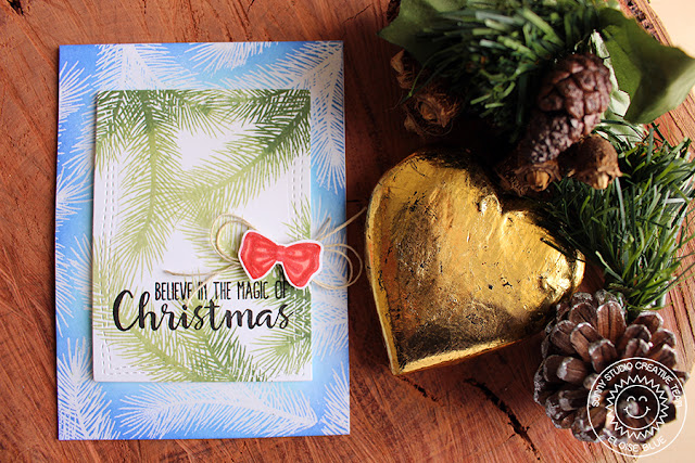 Sunny Studio Stamps: Holiday Style Christmas Magic Tree Bough Holiday Card by Eloise Blue.