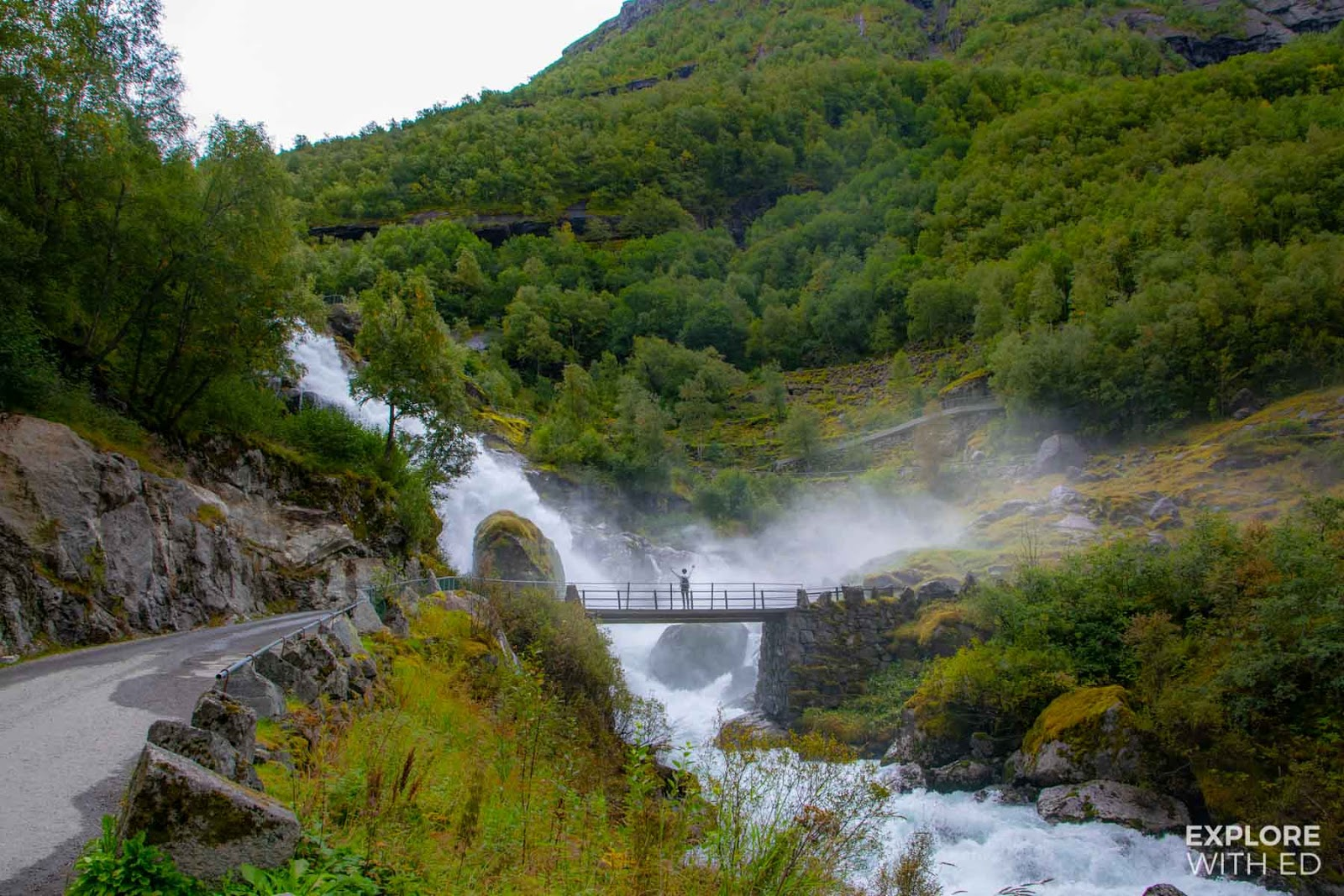 Waterfall bridge in Briksdal