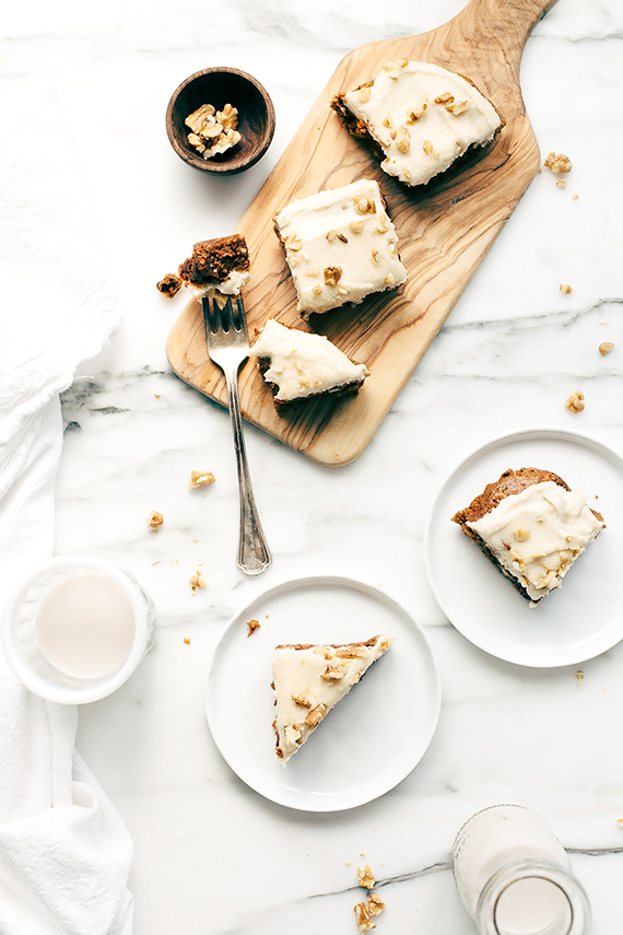 Vegan carrot cake blondies with cashew-coconut icing recipe by Blissful Basil