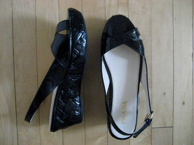 154f1c36555c New without box  Prada platform sandals in black patent leather. Italian size  38.5. Slingback with functional back buckle